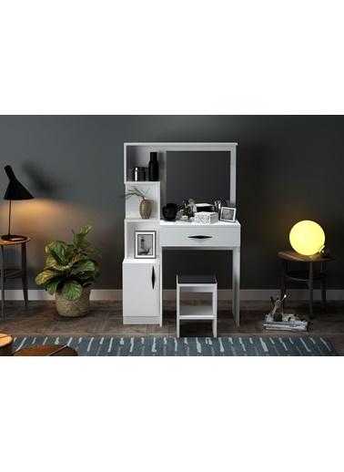 Sanal Mobilya Novella Makyaj Masası Puflu Beyaz